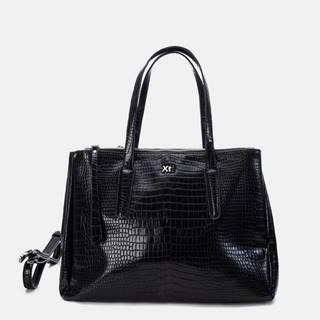 Čierna kabelka s krokodýlím vzorom Xti