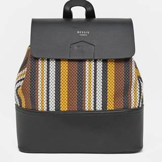 Hnedo-čierny pruhovaný batoh Bessie London