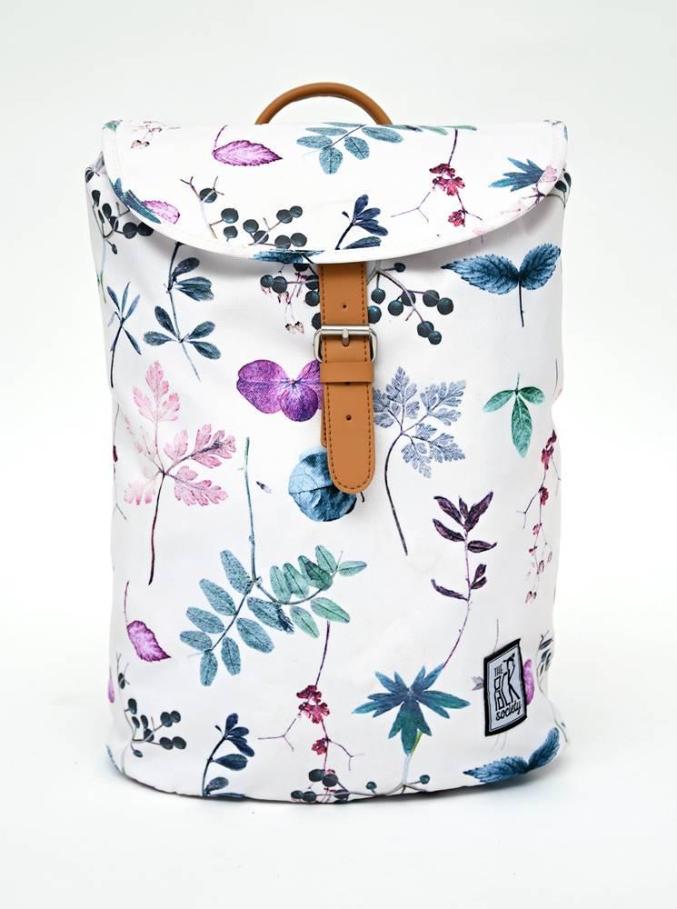 The Pack Society Biely dámsky kvetovaný batoh The Pack Society